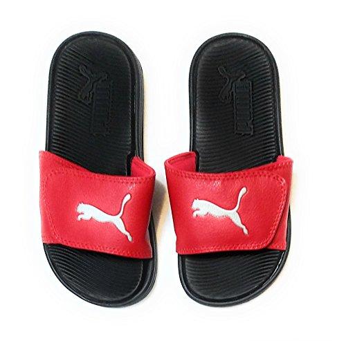 Puma Boys Pop Cat Logo Adjustable Athletic Slides Sandals, Red (4)