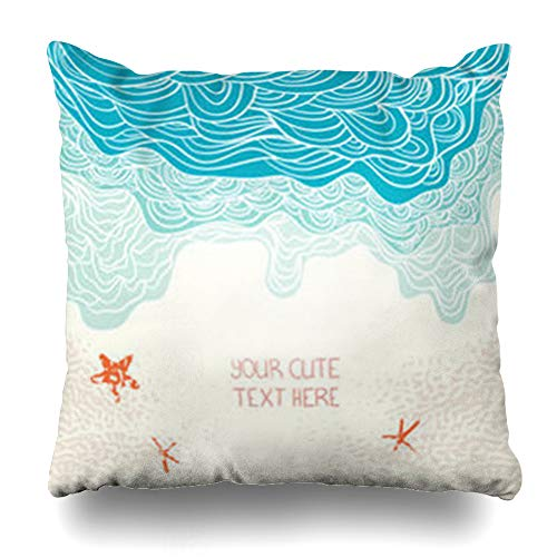 Decor Champ Throw Pillow Covers Travel Perfect Vacation Relax Design Sea Sand Drawn Nature Wave Parks Outdoor Happy Place Beach Home Decor Sofa Pillowcase Square Size 20 x 20 Inches - Velvet Place Sofa Park