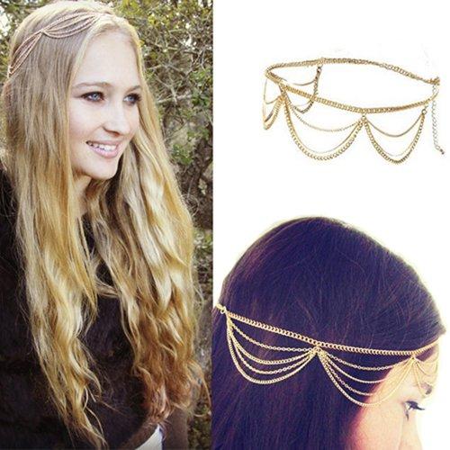 Fashion Gothic Women Ladies Crown Head Chain Headpiece Headdress Headwrap Hair