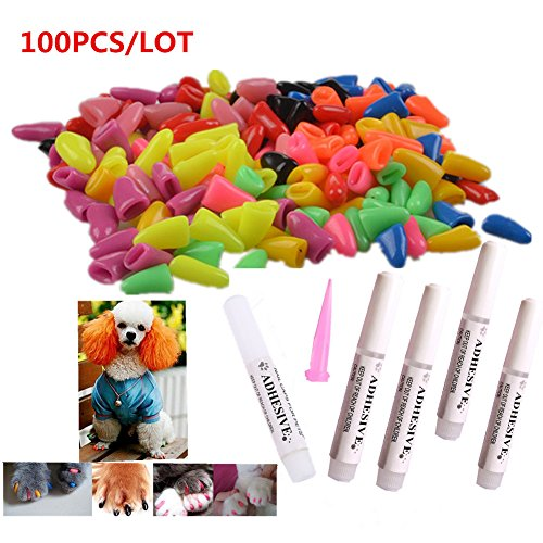 100Pcs Colorful Dog Nail Claw Cap + 5Pcs Adhesive Glue + 5Pcs Applicator Soft Rubber Pet Nail (Rubber Nails)