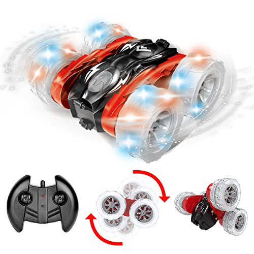 Maxxrace RC Cars Stunt Car Toys, Remote Control Car 1:18 Scale Double-sided 360 Degree Rolling Spinning Tumbling with Bright LED Lights for Kids Birthday