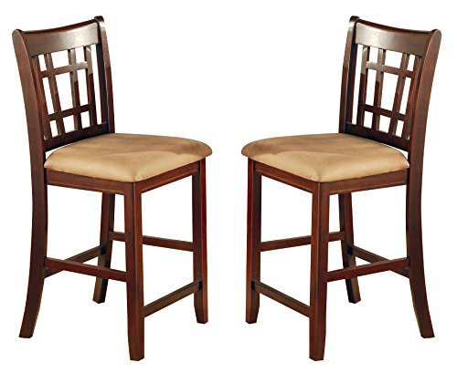 Coaster Home Furnishings  Lavon Modern Window Back Counter Height Bar Stool ( Set of 2 ) - Warm Brown  / Warm Tan Fabric