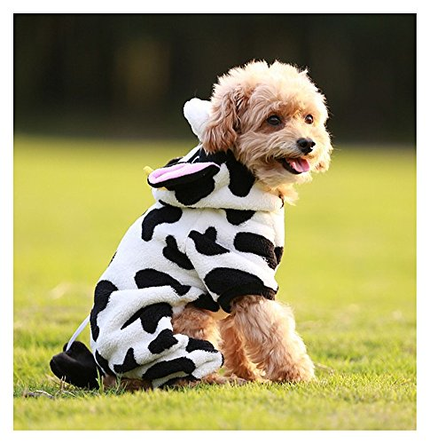 Cow Pet Costume Cute Soft Warm Cow Jumpsuit (XXL)