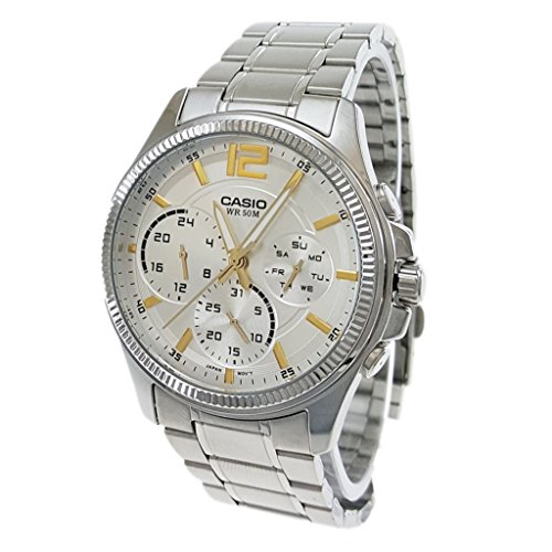 - Casio Enticer Analog chrongraph Silver Dial Watch - MTP-E305D-7A