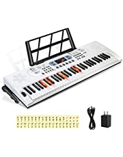 $79 » Hricane Keyboard Piano Lighted Keys for Beginner Adults Teens Kids, 61 Key Electronic Music Keyboard with Teaching Modes Powered by USB or Battery with LCD Display Microphone Headphone Jack