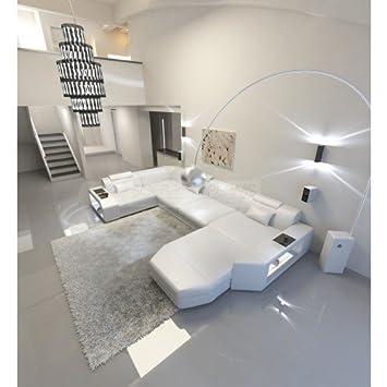 Conjunto de Muebles Para Salón Presto forma de U Blanco Cuero Sofá ...