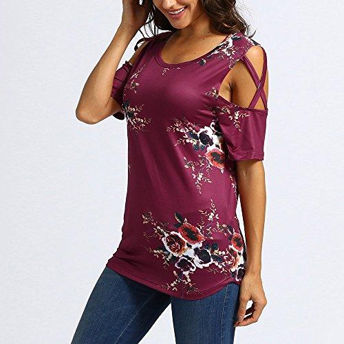 Rouge vin À shirt Tee Femmes Courtes E Manches Morchan Pour w4FzqF