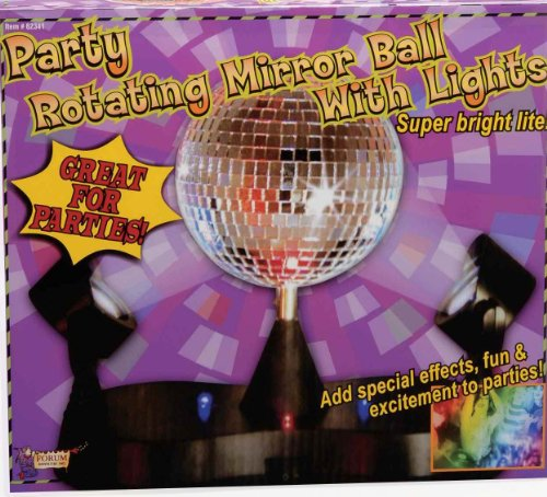 Forum Novelties Party Rotating Mirror Disco Ball with Lights ()
