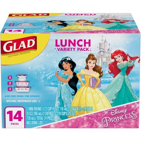 Disney Square Storage - Glad Disney Princess Lunch Food Storage Containers Variety Pack, 14 pc