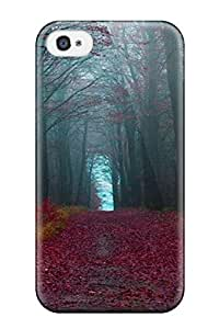 Premium [gOMCsZK542iKRxC]red Forest Pathway Case For Iphone 4/4s- Eco-friendly Packaging