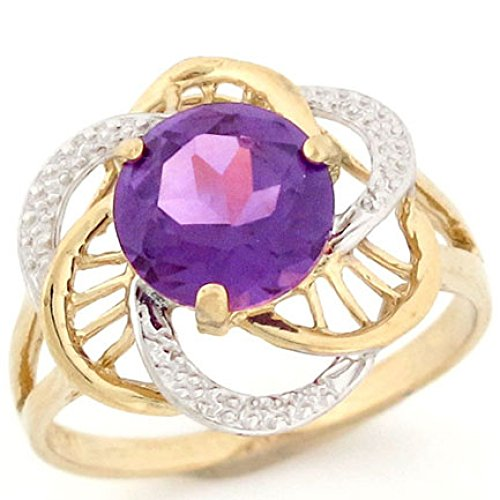 14k Gold Simulated Alexandrite June Birthstone Ring