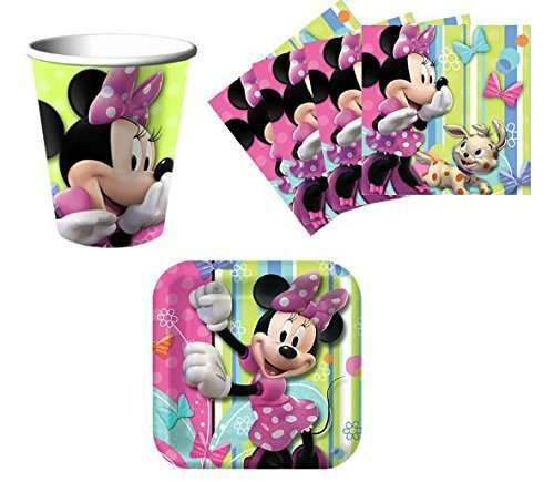 Minnie Mouse Birthday Party Supplies Set Plates Napkins Cups Kit for 16