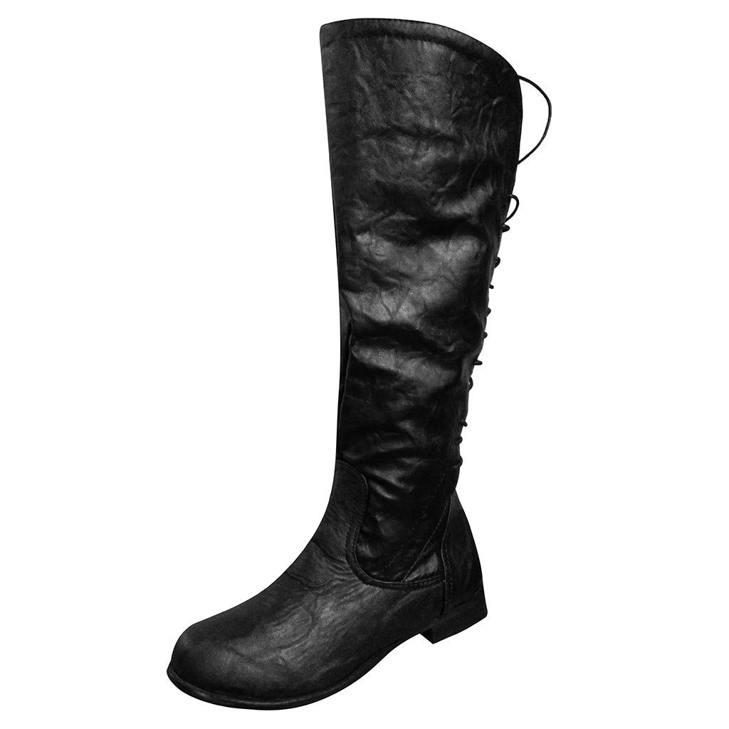 477cad0fd8f12 Amazon.com: Kenvina Boots for Women,2019 Round Toe Low-Heeled Lace ...