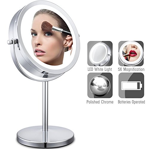 Cerdeco Lighted Makeup Mirror 1X/5X Magnify Two-Sided Table Mirror Vanity Mirror Battery Operated Polished Chrome (Makeup Halloween Two Faces)