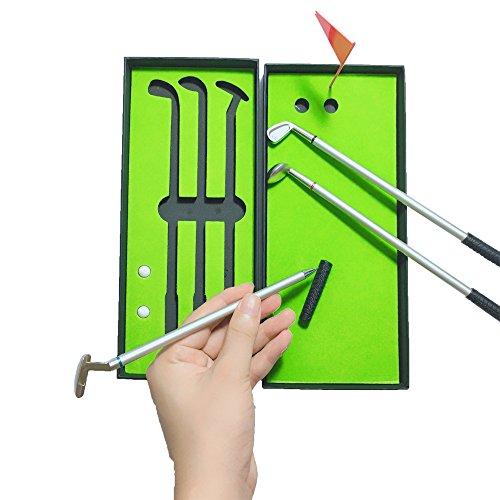 MYTANG Golf Pen with mini Indoor golf course,Novelty Gifts Aluminum Pen Office Desk Golf Ballpoint (Green Mini Pen)