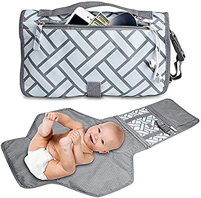 Lightweight Travel Station Kit for Baby Diapering Baby Portable Changing Pad Diaper Clutch Detachable and Wipeable Mat and Soft Head Pillow Perfect Baby Shower Gift Changing Pad Portable