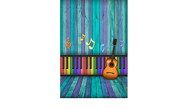 Cartoon Musician Cute Cats with Drum Accordion Tube Guitar Music Theme Pattern Background for Photography Kids Adult Photo Booth Video Shoot Vinyl Studio Props Music 10x15 FT Photography Backdrop