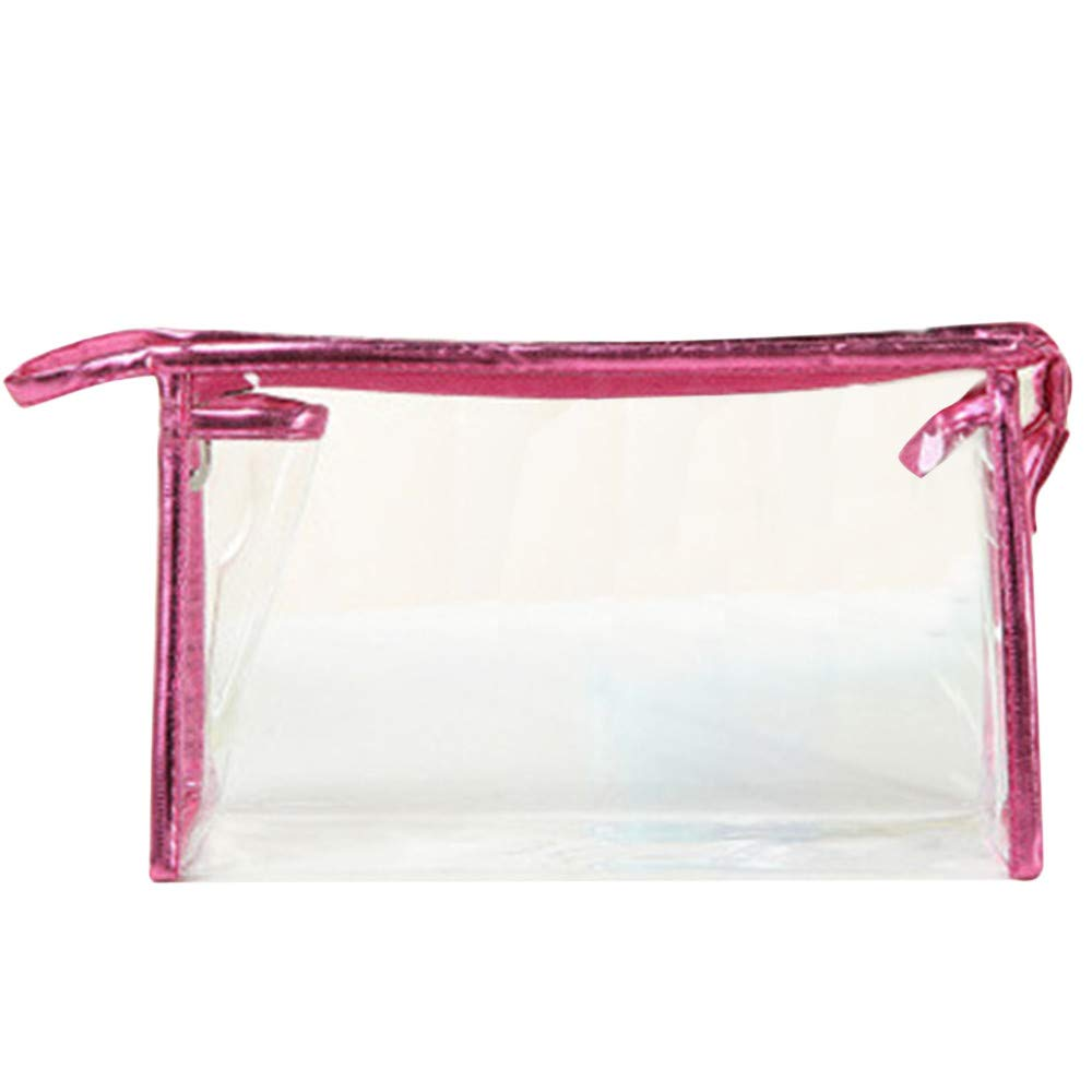 MaxFox Clear Transparent Cosmetic Bag Waterproof PVC Make Up Toiletry Zipper Storage Bag for Outdoor Travel (Hot Pink)
