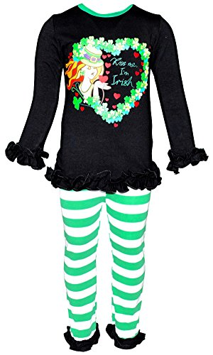 Unique Baby Girls St Patrick's Day Kiss Me I'm Irish Outfit (2T/XS, Green) -