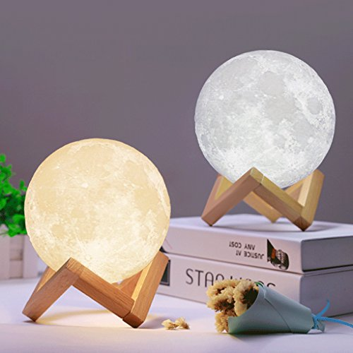 Allrise 3D Printing LED Moon Lamp Night Light, Dimmable Touch Control Brightness with USB Charging, Rechargeable Luna Night Light with Wooden Stand, Home Decorative Lights (7.1Inch)