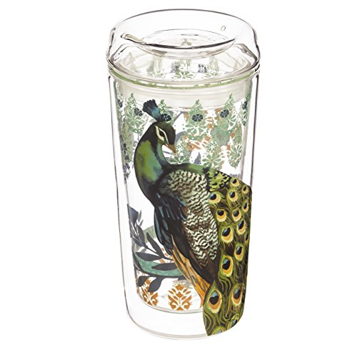 Cypress Home Proud Peacock Double Wall Glass Travel Coffe...