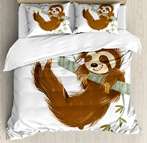 Sloth Queen Size Duvet Cover Set by Ambesonne, Happy Cheerful Animal Swinging on Tree Branch Hand Drawn Cartoon Illustration, Decorative 3 Piece Bedding Set with 2 Pillow Shams, Brown Khaki Grey