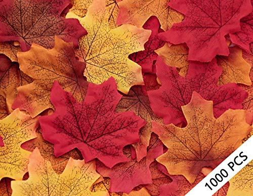 Moon Boat 1000PCS Fall Artificial Maple Leaves Decorations - Thanksgiving Autumn Leaf Wedding Party Table -
