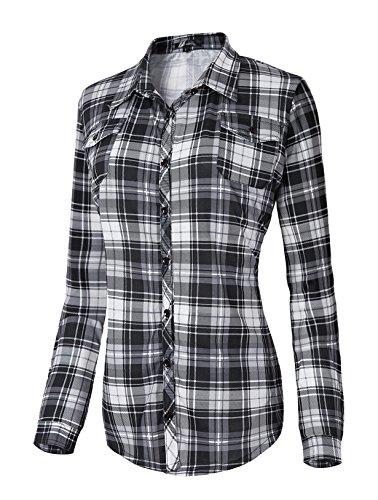 - Urban CoCo Women's Classic Plaid Shirt Button Down Long Sleeve Blouse (S, 5)