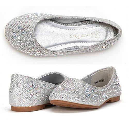 DREAM PAIRS Big Kid Nina-100 Silver Glitter Girls Dress Shoes Classic Ballet Flats - 4 M US Big Kid]()