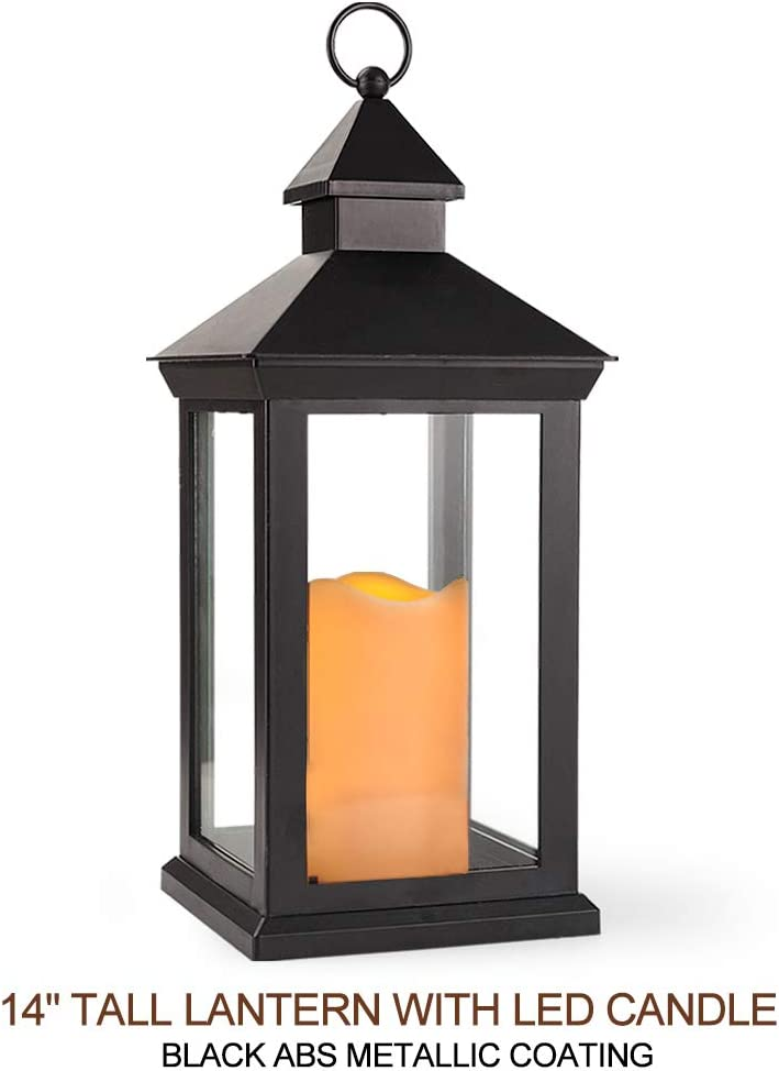 Bright Zeal 14 Inch Decorative Candle Lantern Black Outdoor Lanterns With Timer Candles - IP44 Waterproof Vintage Lanterns Battery Powered LED Hanging Decorative Lanterns For Wedding Indoors Tabletop: Home Improvement