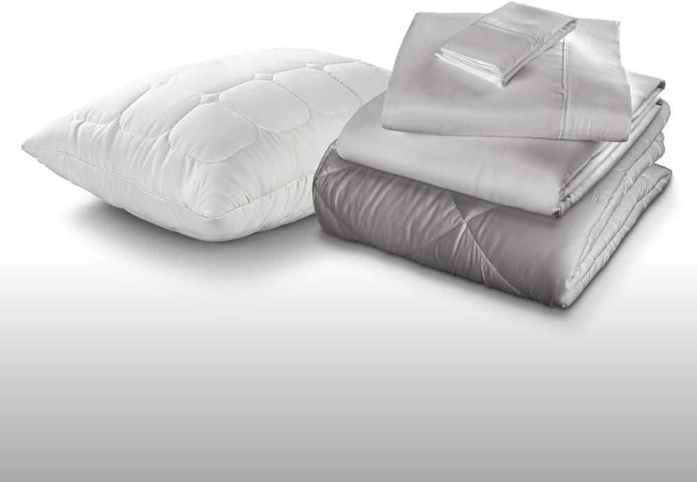Fabrictech International Sleep Kit 5-Piece Bedding Package, Includes Comforter, Sheet Set & 1 Pillow, Twin, Dove Gray (PCSMFBB-T-GY)
