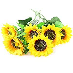"WEWILL Artificial Flowers Sunflowers Decoration 24.4"" Fake Silk Flower Artificial Flowers for Home Wedding Office Party Décor Gift on Mother's Day Floral Decor (Pack of 6) 107"