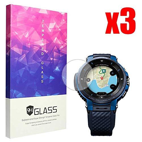 Ceston 9H Protector De Pantalla De Cristal Templado para SmartWatch CASIO WSD-F30 (3 Pack)