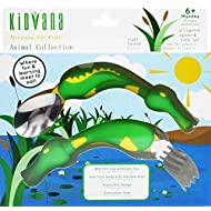 Fork and Spoon Cutlery Set for Children and Toddlers with Ergonomic Design - Green Alligator Animal Collection. BPA Free nontoxic Stainless Steel. Fun and Safe Utensil for Kids.
