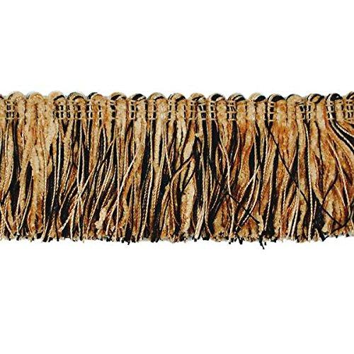 Black Brush Fringe (Expo International Chenille Fiber Brush Fringe Trim Embellishment, 20-Yard, Black/Gold)