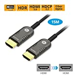 gofanco Active Fiber Optic HDMI 2.0 Cable 15m (50ft) - 4K @60Hz 4:4:4, HDMI 2.0, HDCP 2.2, HDR, ARC, 18Gbps, 3D, CEC, EDID, HEC (HDMIoptic-15m)