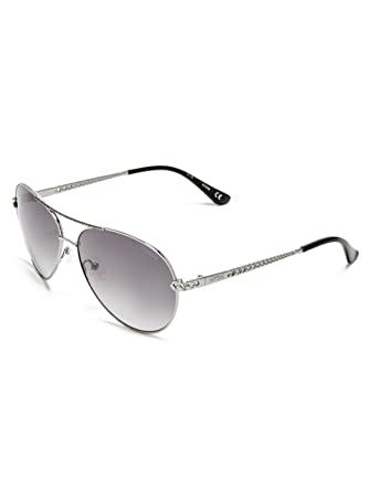 2923eff4ba7 GUESS Women s Catherine Rhinestone Aviator Sunglasses at Amazon Women s  Clothing store