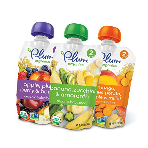 Plum Organics Stage 2, Organic Baby Food, Fruit, Veggie and Grain Variety Pack, 3.5 ounce pouch (Pack of 18)