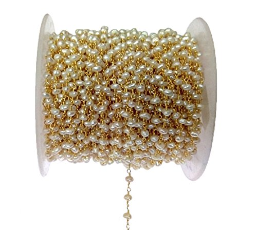 - 3 feet Natural Pearl Bead 4mm 24k Gold Plated Rosary Style Chain by bestinbeads, Natural semi Precious Gemstone Beaded Chain by The Foot, Jewelry Making Chain