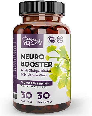 Neuro Booster Nootropics and Brain Supplement for Memory, Brain Support, Clarity, Focus Factor, Mood Boost, Anti Anxiety Stress Relief with Gingko Biloba, Bacopa Monnieri, St. John's Wort More