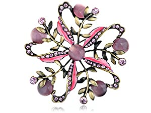 Antique ChicPink Rose Rhinestone Cat Eye Flower Pinwheel Pin Brooch for Women