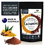 95% Curcumin Turmeric Extract Powder Natural Pure Supplement, Vegan, Organic, Water Soluble, Non-GMO, Gluten Free, Extra Strength, Antioxidants, Cocoa Flavour, Piperine, 13.23oz