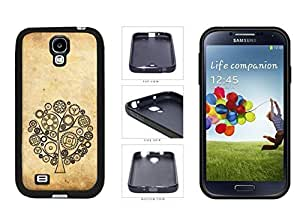 Tree Of Gears Silhouette On Grunge TPU knowledge Rubber Silicone time Phone Case are Back Cover For Samsung Galaxy S4 I9500 students