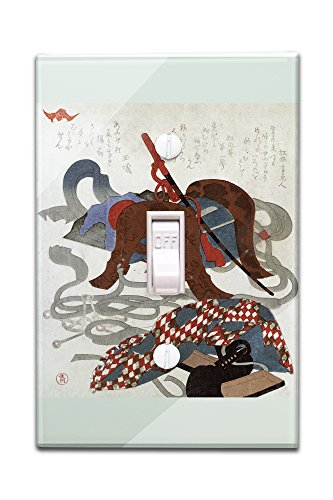 Saddlery Japanese Wood-Cut Print (Light Switchplate Cover) Saddlery Print