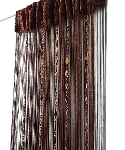 ave split 100cmX200cm Decorative Door String Curtain Beads Wall Panel Fringe Window Room Divider Blind for Wedding Coffee House Restaurant Parts Door Divider Beads Tassel Screen Decoration (coffee25) (Door Beads Hanging Wooden)