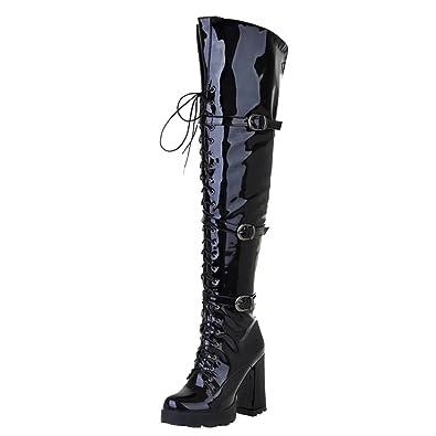 d3ca6af81c9 Amazon.com | AIYOUMEI Women's Patent Leather Thick Heel Platform ...