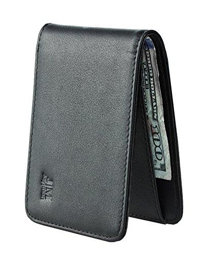 Joymon Genuine Leather Slim Bifold Wallet RFID Blocking Mens Minimalist Front Pocket Wallet for Cards and Cash
