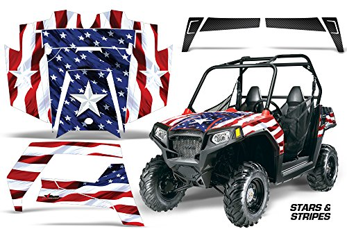 AMRRACING Polaris Ranger RZR 570 All Years Full Custom UTV Graphics Decal Kit - Stars and Stripes ()