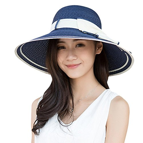EUBUY Ladies Summer Straw Panama Foldable Bowknot Floppy Sun Hat Large Wide Brim Beach Hat Cap Sun Visor UPF 50 for Women Female