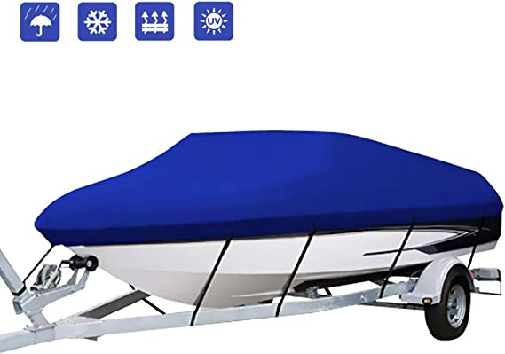 Amazon.com : IC ICLOVER Boat Cover, 420D Oxford Heavy Duty Waterproof Anti-UV Trailerable Cover with 5 Reinforced Webbing for V-Hull, Tri-Hull, Pro-Style, Fishing, Bass Boat, Runabout-All Weather Protection (17-19ft) : Sports & Outdoors